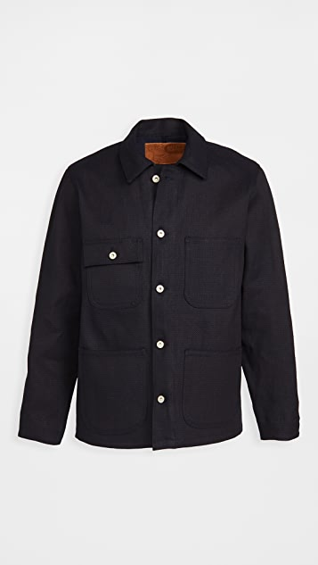 Naked & Famous Indigo Basket Weave Coat