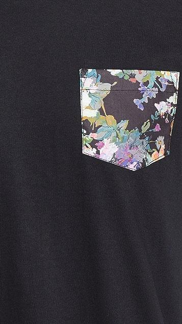 Naked & Famous Pocket Tee - Black + Flower Painting Black