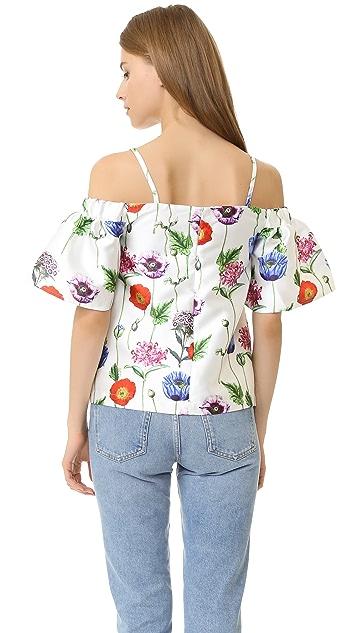 re:named Топ с открытыми плечами и цветочным рисунком