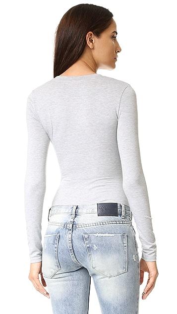 re:named Long Sleeve Henley Bodysuit