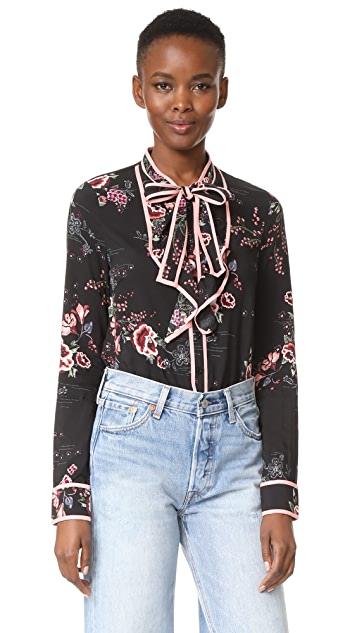 re:named Floral Tie Neck Blouse