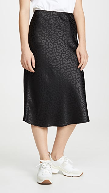 re:named Leopard Jacquard Midi Skirt