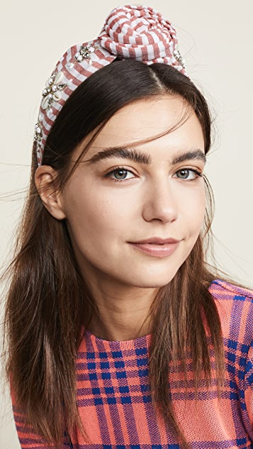 NAMJOSH Striped Shell Embellished Bun Headband
