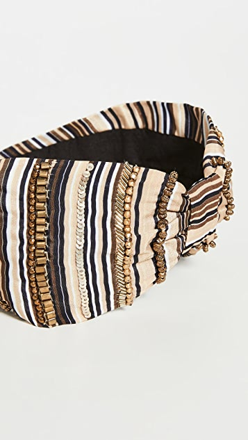 NAMJOSH Tan/Black Stripe Headband