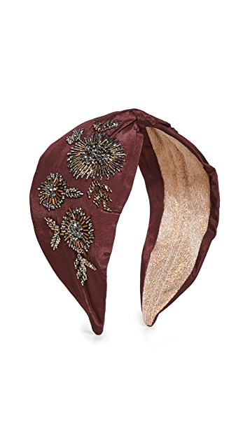 NAMJOSH Wine Gold Floral Embellisehd Headband