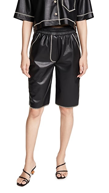 Nanushka Yolie Faux Leather Shorts