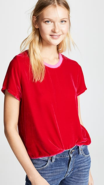 Nation LTD Marie Velvet Boxy Crop Top