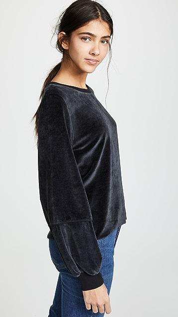 Nation LTD Kiera Velvet Lantern Sleeve Top
