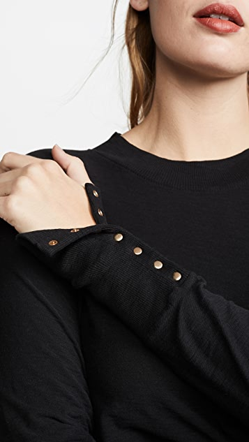 Nation LTD Joni Mock Neck Pullover with Snap Cuffs