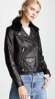 Nobody Denim Shearling Biker Jacket