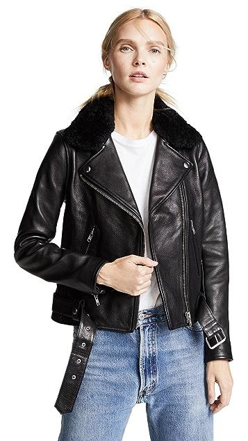 Nobody Denim Shearling Biker Jacket