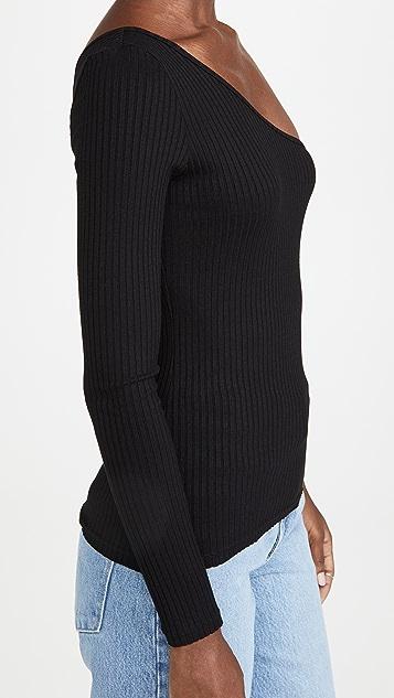 Nobody Denim Luxe Rib Long Sleeve One Shoulder Top