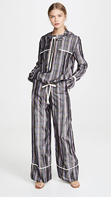 N DUO 条纹周末休闲长裤