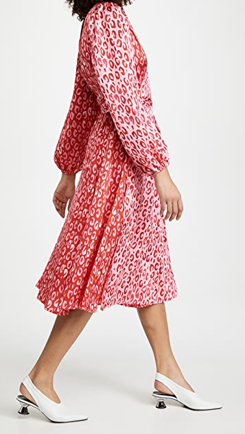 Never Fully Dressed Long Sleeve Pink & Red Leopard Wrap Dress