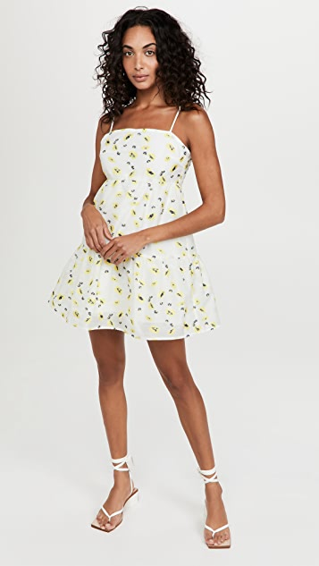 Never Fully Dressed Yellow Flower Organza Mini Dress