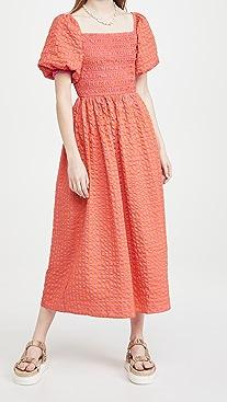 Never Fully Dressed Orange Gingham Midi Dress