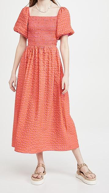 Never Fully Dressed 橙色格子中长连衣裙