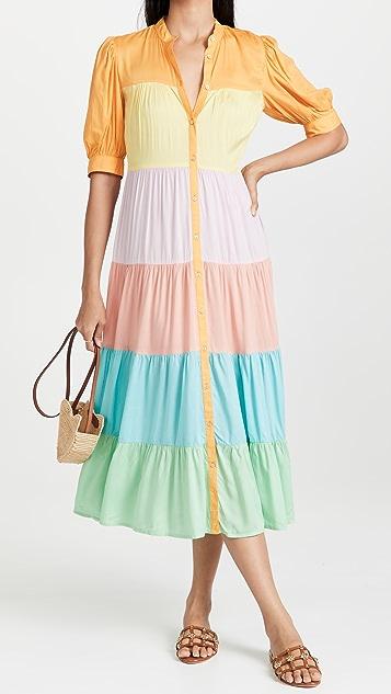 Never Fully Dressed Pastel Rainbow Panel Dress