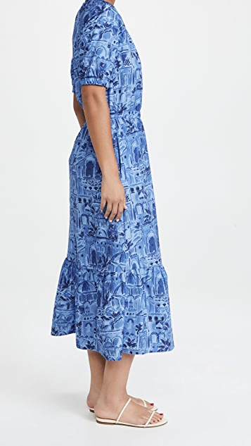 Never Fully Dressed Blue Scenery Rouched Dress