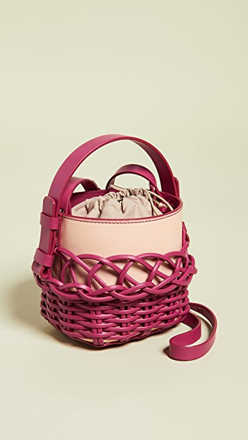 Nico Giani Adenia Mini Bucket Bag - Tan/Fuchsia
