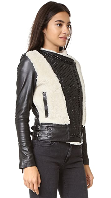 Nour Hammour Monica Shearling Motorcycle Jacket