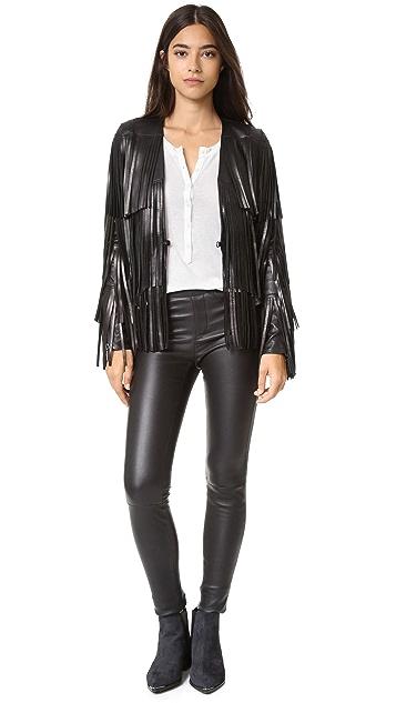 Nour Hammour Lottery Fringe Leather Jacket