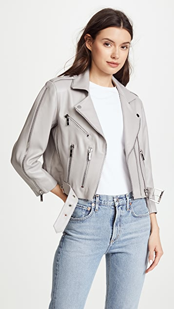 Nour Hammour Avalon Cropped Moto Jacket - Dove Grey