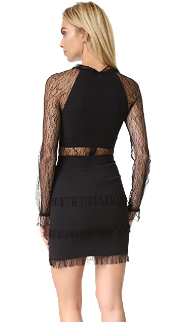 Nicholas Filigree Lace Plunge Mini Dress