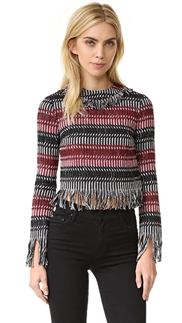 Nicholas Tweed Fringe Long Sleeve Top