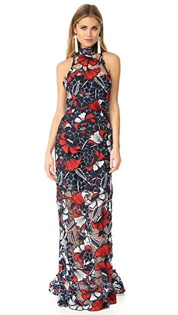 Nicholas Amelie Lace Halter Gown