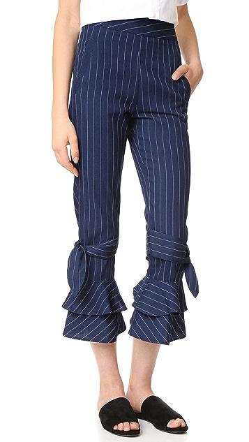 Nicholas N/Nicholas Pinstripe Ruffle Hem Pants