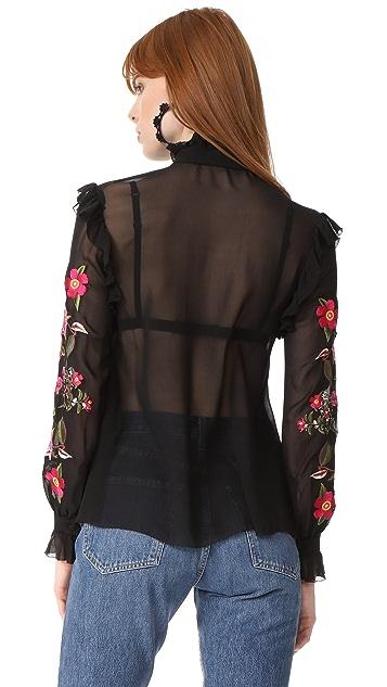Nicholas Peony Embroidered Ruffle Shirt