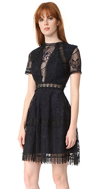 Nicholas Iris Lace Mini Paneled Dress