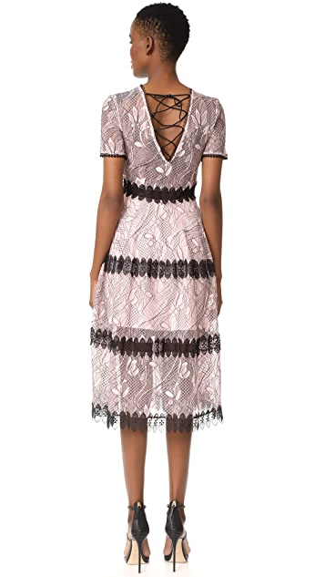 Nicholas Iris Lace Midi Paneled Dress