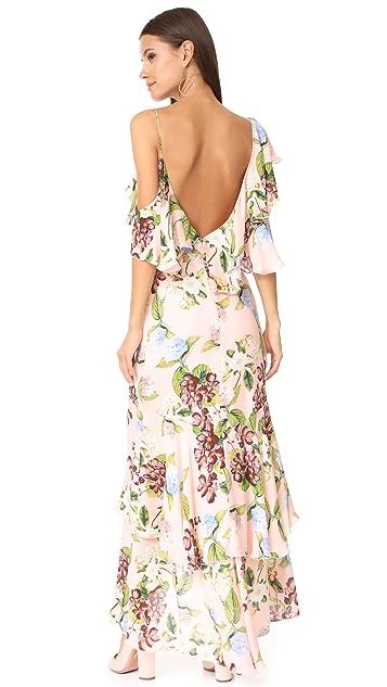 Nicholas Evie Floral Wrap Flounce Maxi Dress