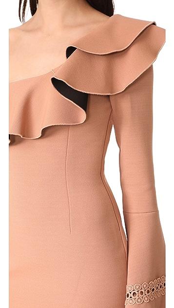 Nicholas Bandage Flounce Mini Dress