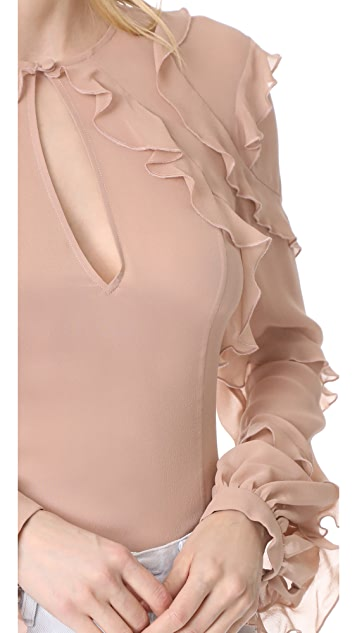 Nicholas Silk Georgette High Neck Ruffle Blouse