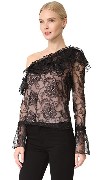 Nicholas Rosie Lace One Shoulder Ruffle Top