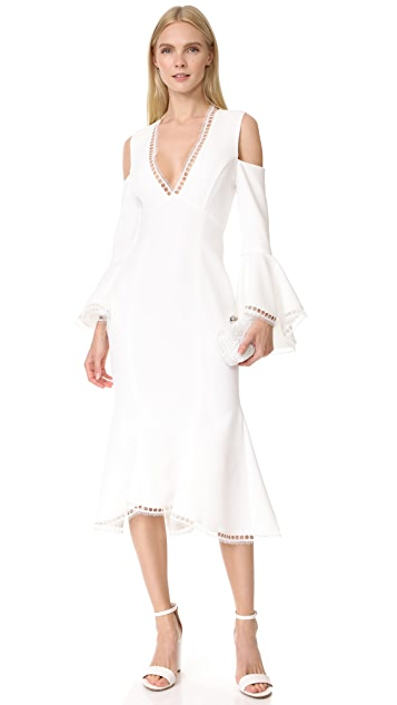 Nicholas Crepe V Neck Cold Shoulder Dress