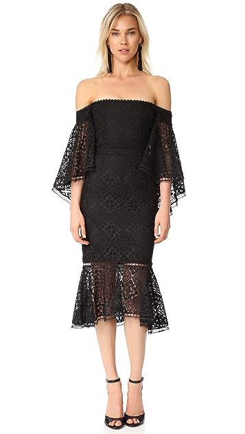 Nicholas Moroccan Tile Off Shoulder Midi Dress
