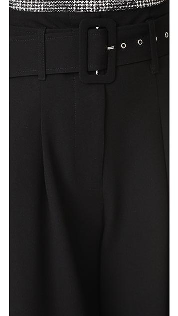 Nicholas Crepe Wide Leg Belted Pants