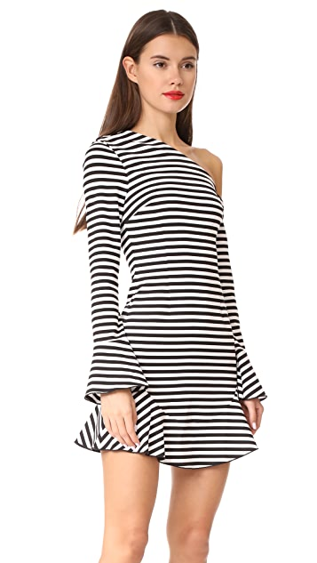 Nicholas Мини-платье N/Nicholas на одно плечо из джерси понте в полоску