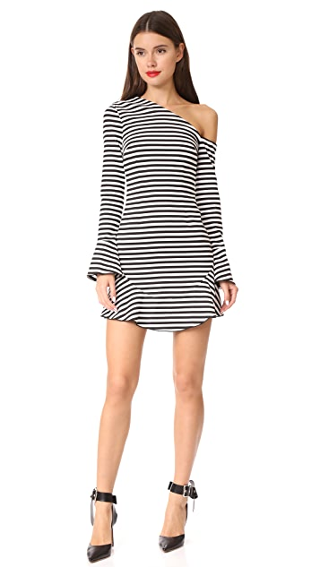 Nicholas N/Nicholas Stripe Ponte One Shoulder Mini Dress
