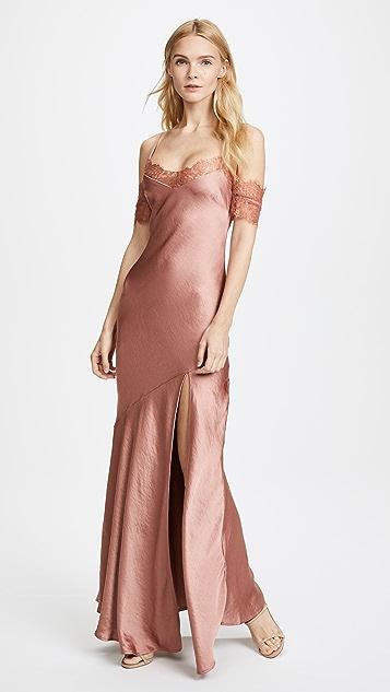 Nicholas Satin Bias Slip Dress - Rust