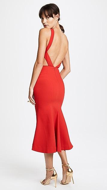 Nicholas Crepe Backless Cocktail Dress