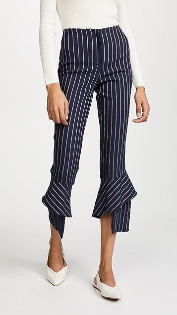 Nicholas Spiral Hem Pinstripe Pants