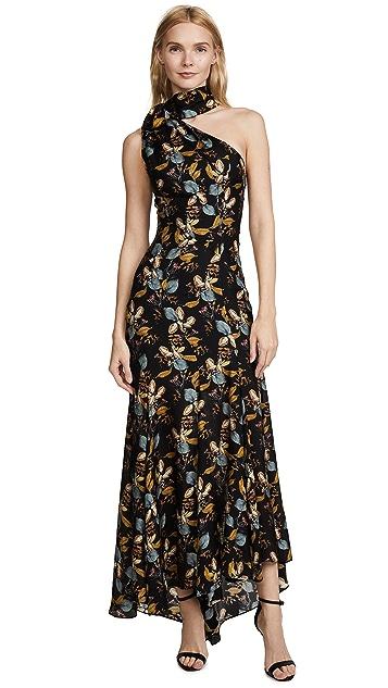 Nicholas Ava Floral Tie Neck Maxi Dress
