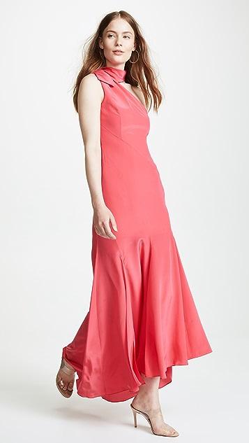 Nicholas Silk Tie Neck Maxi Dress