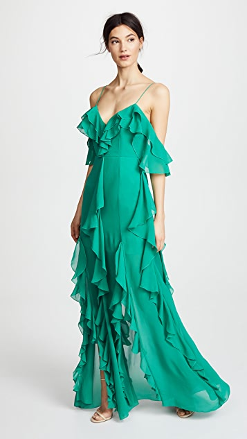 Nicholas Mayflower Cascade Frill Maxi Dress - Emerald