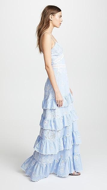 Nicholas N/Nicholas Embroidered Stripe Ruffle Maxi Dress